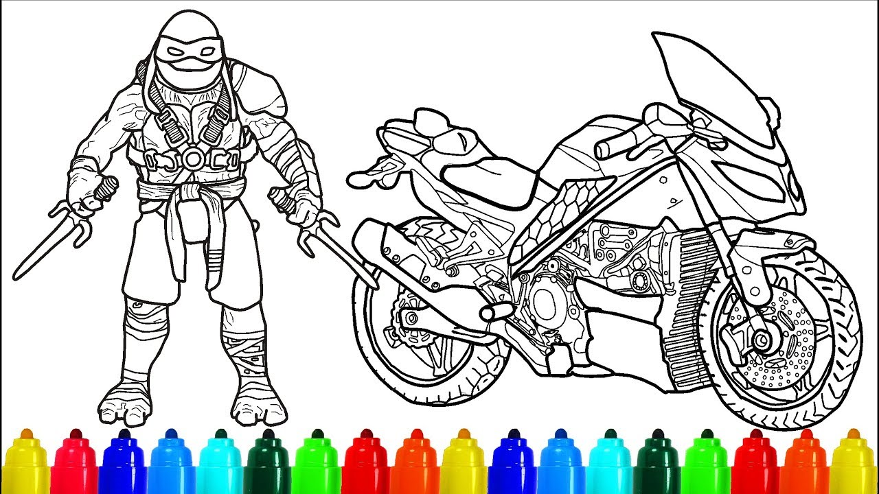 TMNT Motorcycle Raphael Coloring Pages  Colouring Pages for Kids Ninja  Turtles