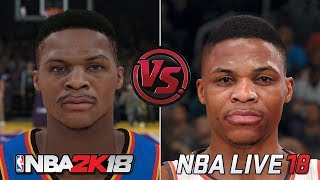 NBA 2K18 vs NBA LIVE 18 Face/Graphics Comparison
