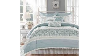 Madison Park Dawn Queen Size Bed Comforter Set Bed In A Bag | Aqua, Floral Shabby Chic