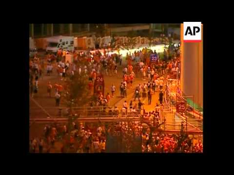 Fans leave stadium after Germany Holland draw