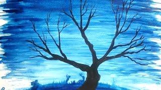 (Siluet) kış ağacı SULUBOYA RESİM resim