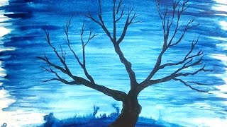 Winter Baum (silhouette) Gemälde-AQUARELL-MALEREI