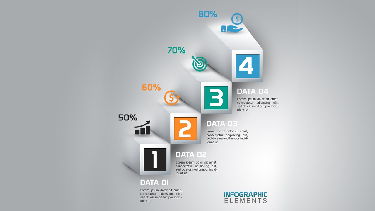 How To Create 3D Abstract Bar Chart Infographic In ...