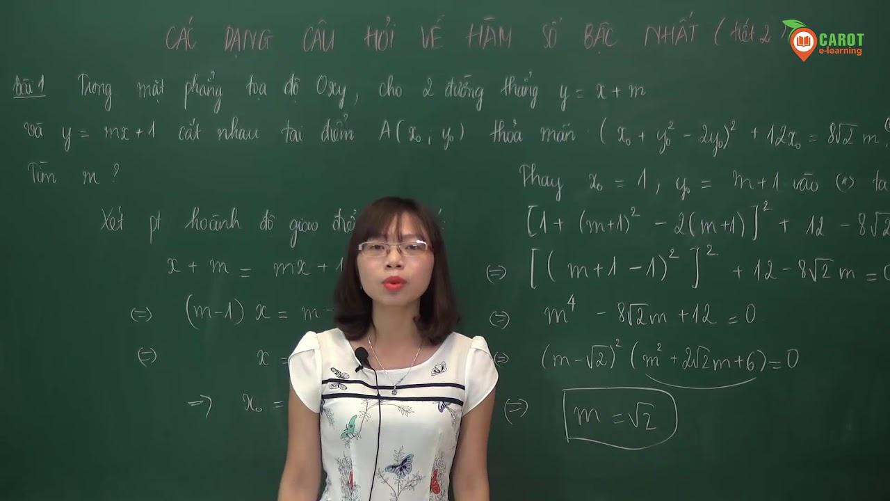 Các dạng toán về hàm số bậc nhất, tiết 2 Toán 9