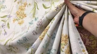 Botanical Pastels On Cotton Slub -- Drapery Fabric -- By P Kaufmann