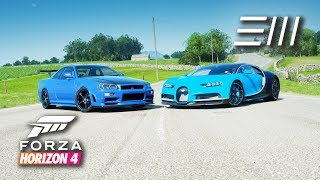 "Forza Horizon 4 - ""Riced Out"" R34 Skyline GT-R vs Bugatti Chiron 