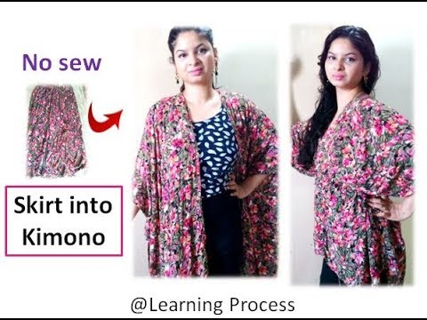 No sew diy: Convert old long/medium skirt into kimono/jacket ...