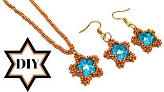 How to make necklace(pendant) How to make earrings. Beads jewelry making tutorial