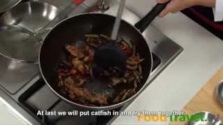[thai Food] Stir Fried Catfish With Ginger (pla Dook Fu Pad Prik Khing)