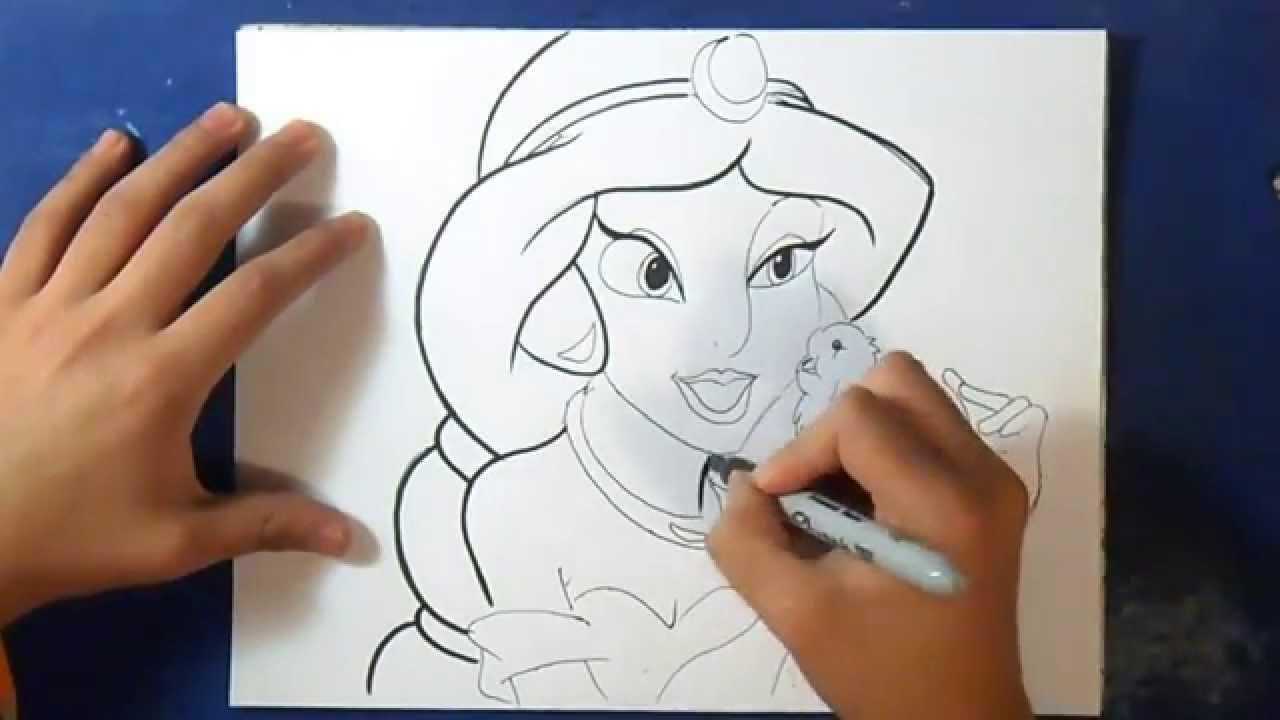 Comment dessiner princesse jasmine youtube - Comment dessiner une princesse disney ...