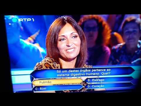 EPIC FAIL! Who wants to be a Millionaire: Lung is part of the human digestive system!! (Portugal)