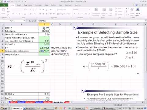Excel 2010 Statistics 77: Determine Sample Size - YouTube