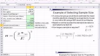 Excel 2010 Statistics 77: Determine Sample Size