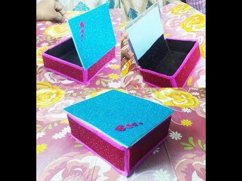 how-to-make-jewellery-box-at-home-using-cardboard-|-birthday-gift-box