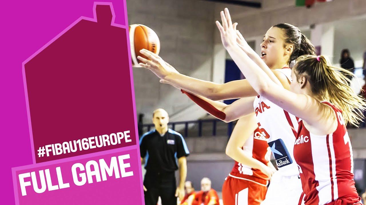 Spain v Czech Republic - Full Game - Quarter Final - FIBA U16 Women s  European Championship 2016 9b268b729e