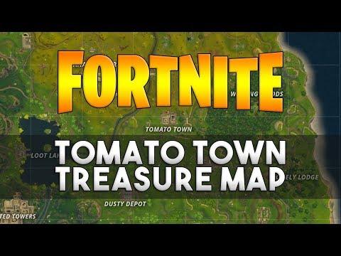 Follow The Treasure Map Found In Tomato Town - Fortnite Challenge