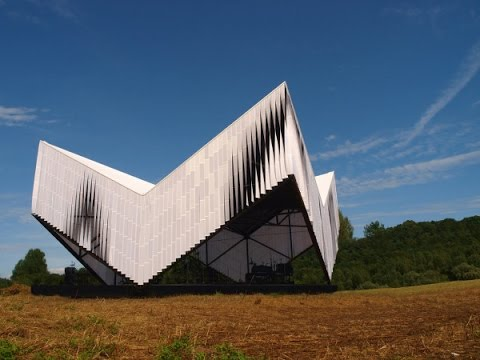 AN ANGULAR PAVILION FOR OUTDOOR EVENTS IN LATVIA