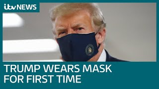 Covid-19: Donald Trump wears mask in public for first time during coronavirus pandemic | ITV News