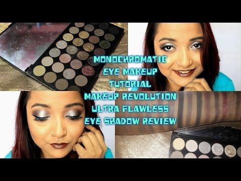 Makeup Revolution Ultra FLAWLESS Eyeshadow palette- Review- Monochromatic Eye Makeup Tutorial - 동영상