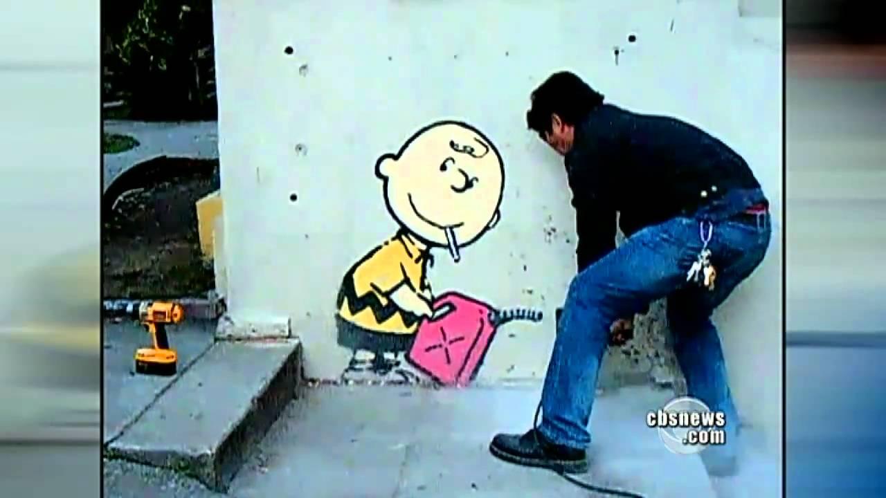 Banksy creates street art and mystery youtube