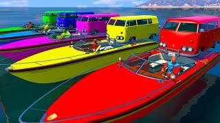 Small Bus on Boat Transportation - Learn Colors Superhero Cartoon For Kids Nursery Rhymes