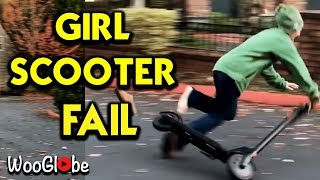 Girl Fails Riding an Electric Scooter