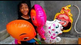 QYLA IKHLAS MELEPAS BALON IPIN,MASHA,CAT - Membuat Balon Bisa Terbang Sendiri | BABY SHARK DANCE