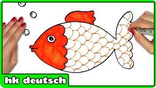 Wie Nette Goldfisch Zeichnen - How To Draw Cute Gold Fish   Zeichnung Tutorials Auf Deutsch