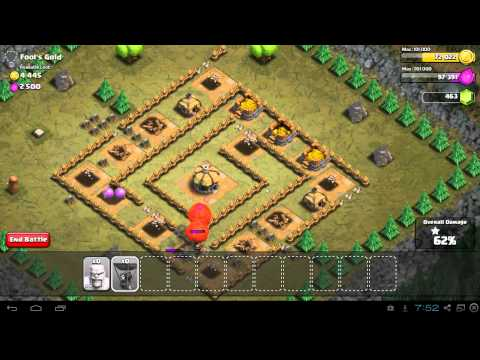Clash of Clans Fools Gold Video Walkthrough - 3 Stars - Town Hall 4