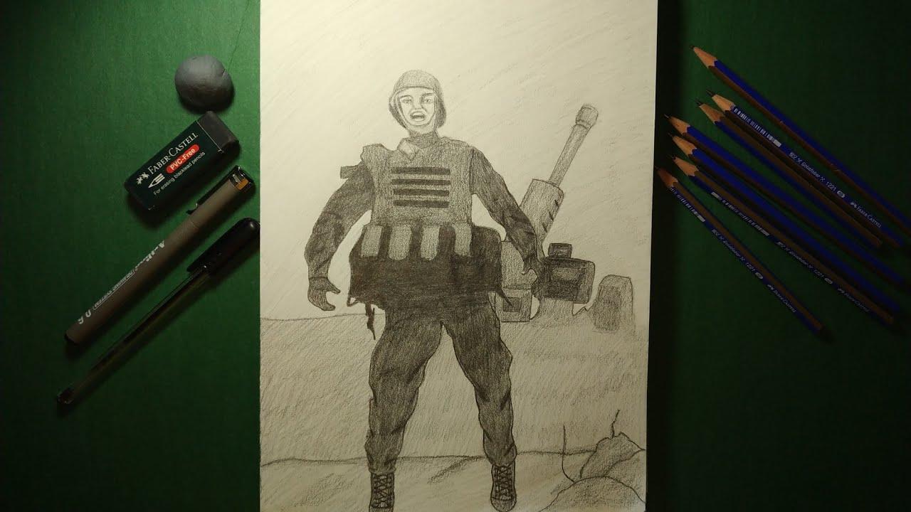 Duruşu ile hafızalarımıza kazınan Azerbaycan topçu askeri çizimi 🇦🇿🇹🇷   Çizen kız