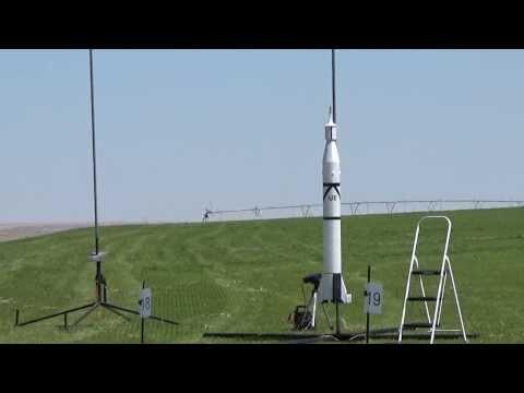 Scratch built Depron Jupiter C highpower rocket flying on H-128