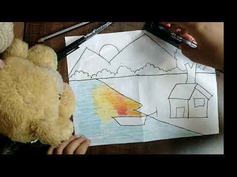 Beautiful and Easy Landscape Scenery for kids | With wax crayons..