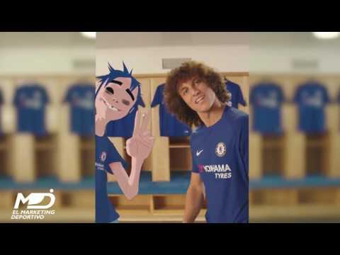 David luiz en compañia de 2D presenta la nueva camiseta del Chelsea