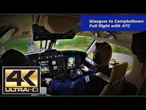 Vol Glasgow Campbeltown IFR - Kingair 200 Ambulance - Cockpit Cam - Avec Radio - UHD 4K
