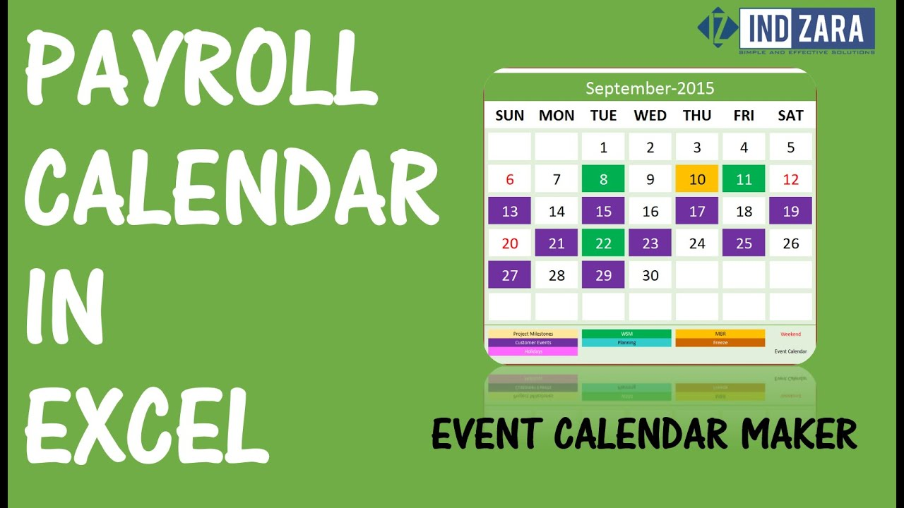 Payroll Calendar using Event Calendar Maker Excel Template - YouTube