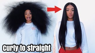 Curly to Straight Hair - NO Frizz (NEW 2018) | jasmeannnn