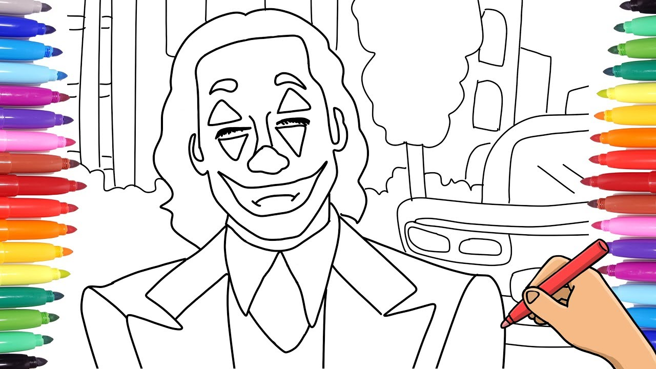 The Joker Coloring Pages Drawing And Coloring Joker Batman Villain For Kids Youtube