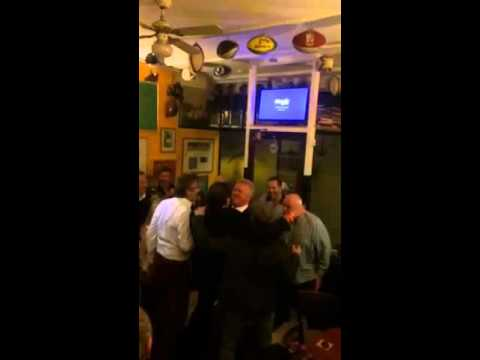 Willie Anderson challenges John Gallagher as he performs the Haka