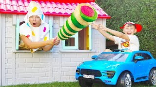 Ali play house bought Ice cream, Funny videos for kids