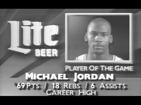 Michael Jordan 69 points & 18 rebounds (Bulls @ Cavs 90)