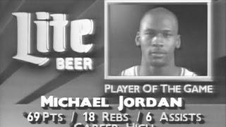 Michael Jordan 69 points & 18 rebounds (Bulls @ Cavs '90)