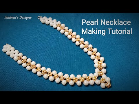 Pearl Necklace / How To Make At Home/Beaded Necklace/Jewelry Making Tutorial/DIY/Shabna's Designs