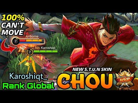S.T.U.N Chou New Skin MVP Gameplay - Top Global Chou Karoshiqt_ - Mobile Legends