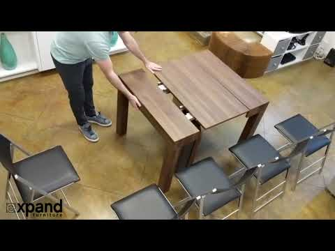 Gigante Wood Transformer Table with extension storage built inside