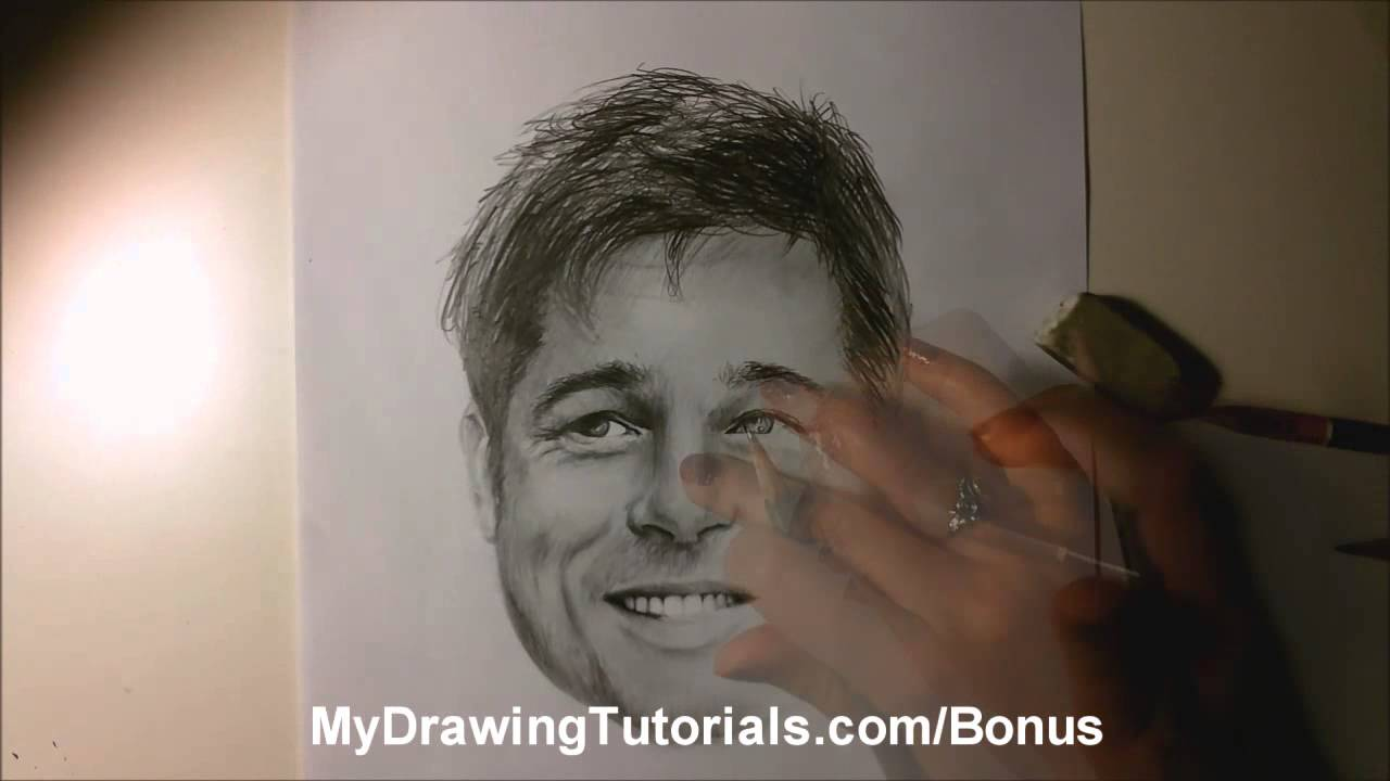 Realistic Pencil Portrait Of Brad Pitt Speed Portrait