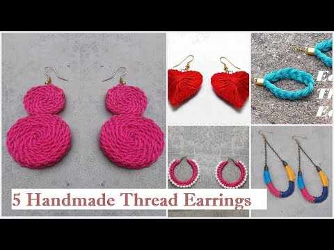 5 Handmade Thread Earrings | How To Make Thread Earrings At Home | DIY | Creation&you