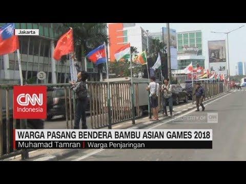 Warga Pasang Bendera Bambu Asian Games 2018