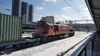 부산진발 삽교행 컨테이너 수송 3048열차 천안역 진입…