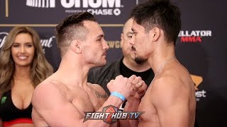 MIKE CHANDLER VS GOTI YAMAUCHI FULL WEIGH IN & FACE OFF VIDEO - BELLATOR 192