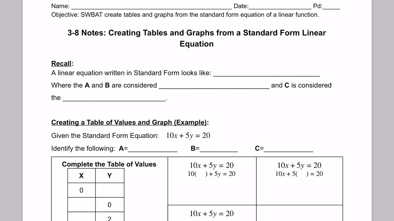 M1 3 8 notes creating tables and graphs from standard form equation m1 3 8 notes creating tables and graphs from standard form equation vid 14 recall falaconquin